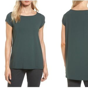 Eileen Fisher Bateau Neck High Low Tee